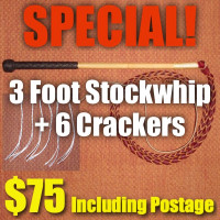 SPECIAL! 3 Foot 4 Plait Red Hide Stock Whip + Crackers + Postage