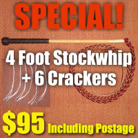 SPECIAL! 4 Foot 4 Plait Red Hide Stock Whip + Crackers + Postage