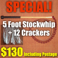 SPECIAL! 5 Foot 4 Plait Red Hide Stock Whip + Crackers + Postage