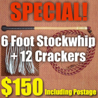 SPECIAL! 6 Foot 4 Plait Red Hide Stock Whip + Crackers + Postage